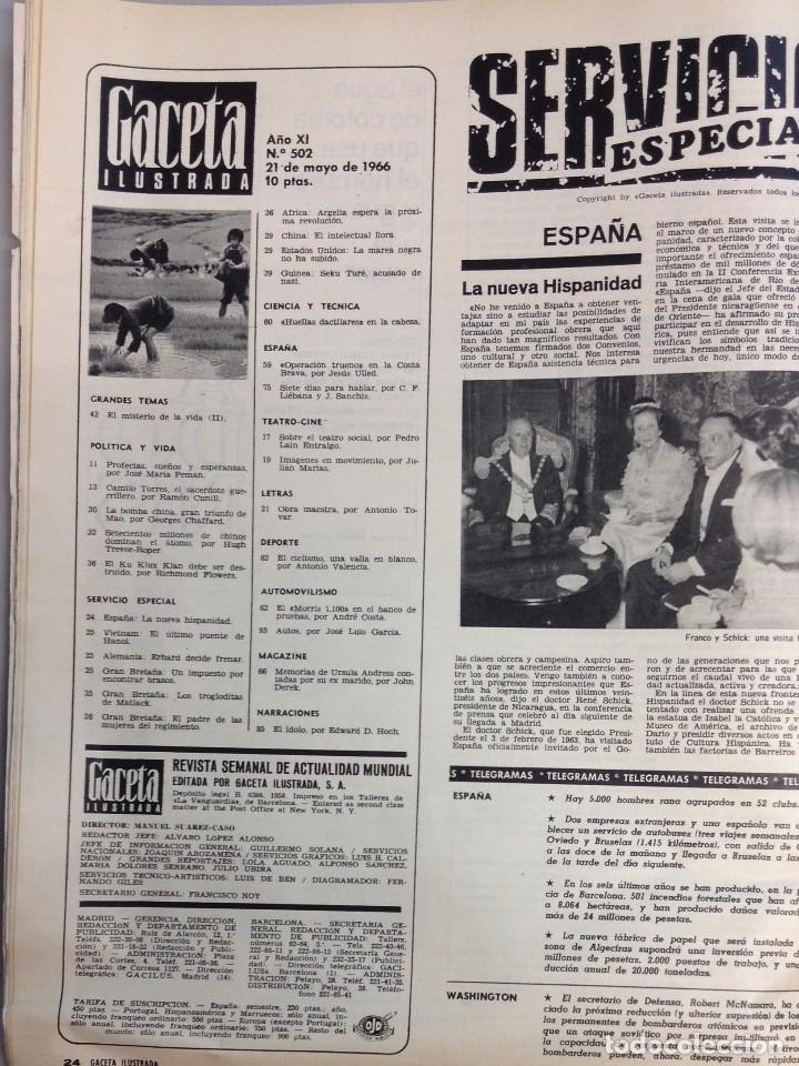 Coleccionismo de Revista Gaceta Ilustrada: REVISTA GACETA ILUSTRADA Nº 502 MAYO 1966 - Foto 2 - 95838559