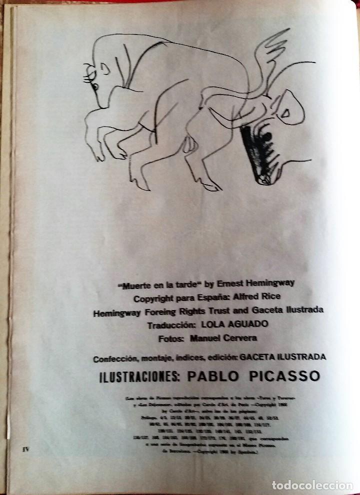 Coleccionismo de Revista Gaceta Ilustrada: Muerte en la Tarde, E. Hemingway. Con ilustraciones de Picasso. Gaceta Ilustrada, 1966. Gran formato - Foto 4 - 115582159