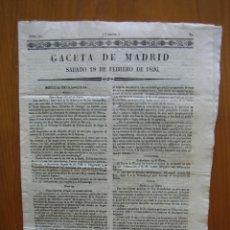 Coleccionismo de Revista Gaceta Ilustrada: PERIÓDICO ANTIGUO GACETA DE MADRID.. Lote 123993143