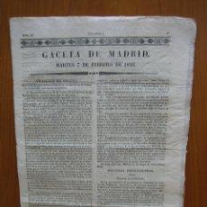 Coleccionismo de Revista Gaceta Ilustrada: PERIÓDICO ANTIGUO GACETA DE MADRID 1826. Lote 123993579