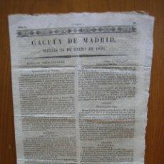 Coleccionismo de Revista Gaceta Ilustrada: PERIÓDICO ANTIGUO GACETA DE MADRID 1826. Lote 123993875