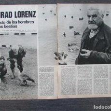 Coleccionismo de Revista Gaceta Ilustrada: RECORTE GACETA ILUSTRADA 907 1974 KONRAD LORENZ 4 PGS. Lote 136564922