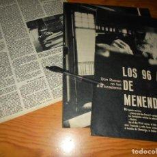 Colecionismo da Revista Gaceta Ilustrada: RECORTE PRENSA : LOS 96 AÑOS DE MENENDEZ PIDAL. GACETA ILUST. MARZO 1965. Lote 143591042