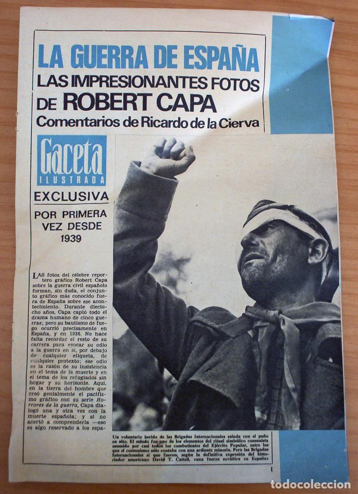 LA GUERRA DE ESPAÑA - LAS IMPRESIONANTES FOTOS DE ROBERT CAPA - GACETA ILUSTRADA (Coleccionismo - Revistas y Periódicos Modernos (a partir de 1.940) - Revista Gaceta Ilustrada)
