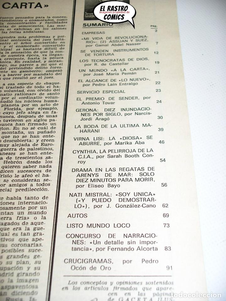 Coleccionismo de Revista Gaceta Ilustrada: Gaceta Ilustrada nº 733 1970, Virna Lisi, Nati Mistral, Nasser, Gerona riada, Arenys de Mar regatas - Foto 3 - 176266064