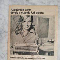 Collectionnisme de Magazine Gaceta Ilustrada: HOJA DE PUBLICIDAD REVISTA GACETA ILUSTRADA - BRAUN - ASEGURESE CALOR DONDE USTED QUIERA -. Lote 184592447