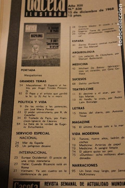 Coleccionismo de Revista Gaceta Ilustrada: GACETA ILUSTRADA 636 AÑO 1968 MASPALOMAS NUCLEAR CORAZON CHINCHERO EVTUCHENKO KRUPP PARIS JUAN XXIII - Foto 2 - 201862996
