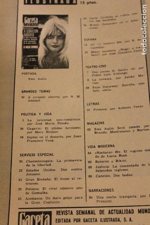 Coleccionismo de Revista Gaceta Ilustrada: GACETA ILUSTRADA 600 AÑO 1968 GAGARIN EWA AULIN CORAZON MUJER BEDUINOS BOSE DUNAWAY - Foto 2 - 201896041
