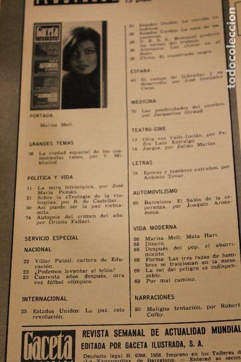 Coleccionismo de Revista Gaceta Ilustrada: GACETA ILUSTRADA 603 AÑO 1968 LUTER KING AUTOMOVIL GIBRALTAR COSMONAUTA MELL VIETNAM CEREBRO FAGOR - Foto 2 - 201897596