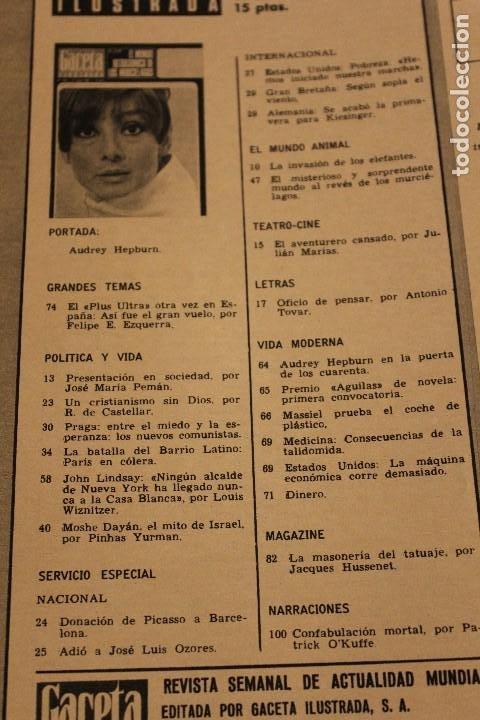 Coleccionismo de Revista Gaceta Ilustrada: GACETA ILUSTRADA 606 AÑO 1968 PARIS MURCIELAGOS HEPBURN ELEFANTES COMUNISTAS DAYAN LINDSAY AVION - Foto 2 - 201901515