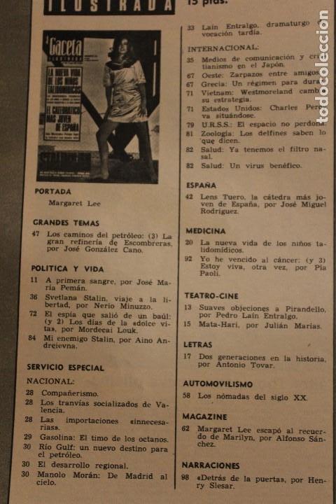 Coleccionismo de Revista Gaceta Ilustrada: GACETA ILUSTRADA 552 AÑO 1967 STALIN TALIDOMIDA LEE PAOLI CANCER ESPIA ESCOMBRERAS PETROLEO AUTO - Foto 2 - 202101587