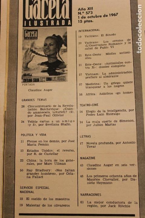 Coleccionismo de Revista Gaceta Ilustrada: GACETA ILUSTRADA 573 AÑO 1967 STALIN CHINA MAURICE CHEVALIER AUGER AMERICANOS RUSIA - Foto 2 - 202104648
