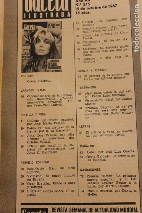 Coleccionismo de Revista Gaceta Ilustrada: GACETA ILUSTRADA 575 AÑO 1967 CAPOTE ONU ARMAMENTO NORTEAMERICA CULTURA RUSIA BALDWIN GUERRA ESPACIA - Foto 2 - 202105266