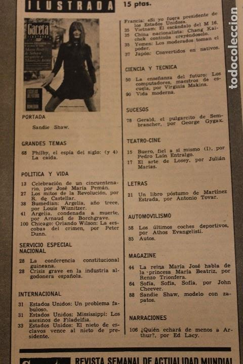 Coleccionismo de Revista Gaceta Ilustrada: GACETA ILUSTRADA 580 AÑO 1967 SANDIE SWAW BUMEDIAN ARGELIA CHICAGO COMPUTADOTRES COCHES LOREN PHILBY - Foto 2 - 202109538
