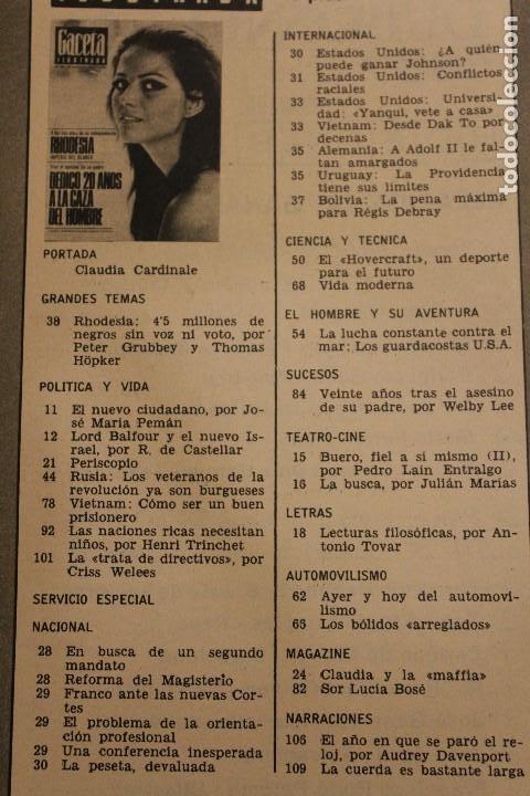 Coleccionismo de Revista Gaceta Ilustrada: GACETA ILUSTRADA 581 AÑO 1967 RHODESIA CARDINALE RUSOS HOVERCRAFT GUARDACOSTAS AUTOS VIETNAM BOSE - Foto 2 - 202110322
