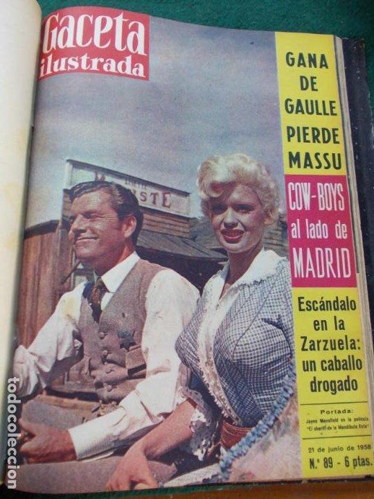 Coleccionismo de Revista Gaceta Ilustrada: LOTE DE REVISTAS GACETA ILUSTRADA DESDE ENERO A JUNIO DE 1.958 ENCUADERNADAS - Foto 2 - 202306140