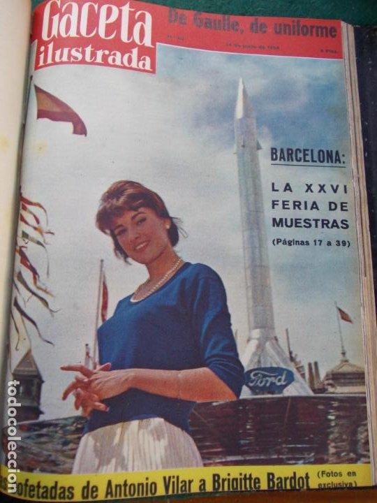 Coleccionismo de Revista Gaceta Ilustrada: LOTE DE REVISTAS GACETA ILUSTRADA DESDE ENERO A JUNIO DE 1.958 ENCUADERNADAS - Foto 3 - 202306140