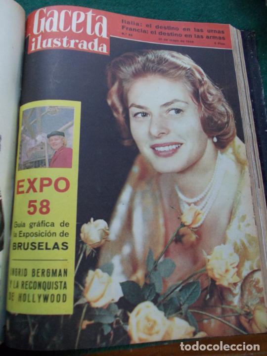 Coleccionismo de Revista Gaceta Ilustrada: LOTE DE REVISTAS GACETA ILUSTRADA DESDE ENERO A JUNIO DE 1.958 ENCUADERNADAS - Foto 5 - 202306140