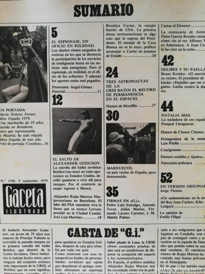 Coleccionismo de Revista Gaceta Ilustrada: Revista Gaceta Ilustrada nº 1196 Lola Forner Miss España Delibes Alexander Godunov Rosalyn Carter - Foto 2 - 213535538