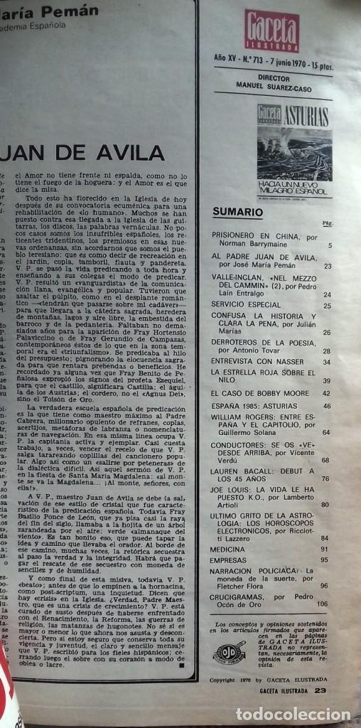 Coleccionismo de Revista Gaceta Ilustrada: LA GACETA ILUSTRADA 7 junio 1970 - Foto 3 - 226286010