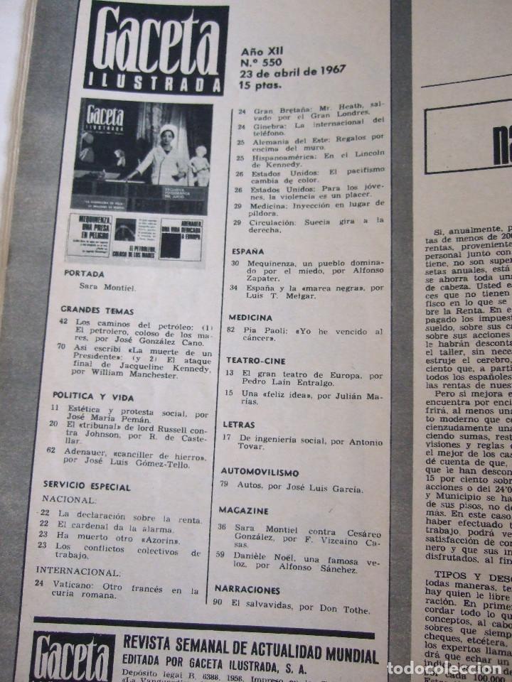 Coleccionismo de Revista Gaceta Ilustrada: REVISTA GACETA ILUSTRADA Nº 550 - 1967 SARA MONTIEL - ADENAUER - PUBLICIDAD COLONIA LAVANDA DE PUIG - Foto 3 - 254758910