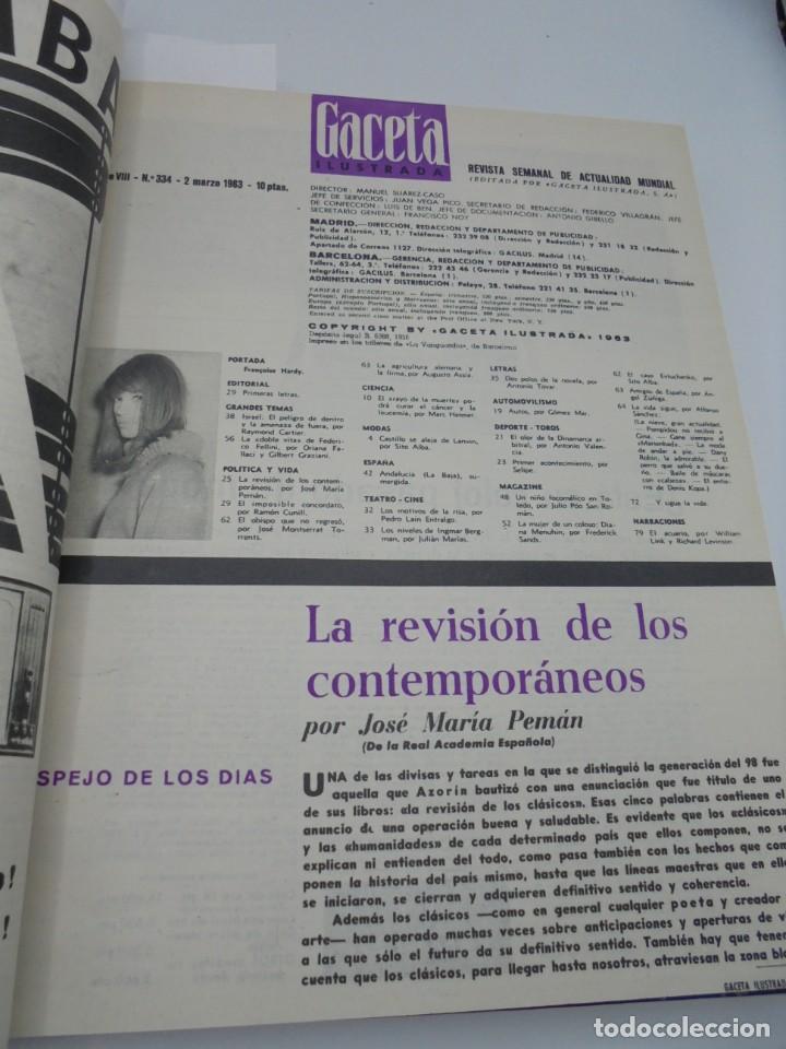 Coleccionismo de Revista Gaceta Ilustrada: GACETA ILUSTRADA. 10 REVISTAS ENCUADERNADAS. DESDE FEBRERO HASTA ABRIL. Nº 330 HASTA EL Nº 339. VER - Foto 11 - 276992063