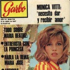 Coleccionismo de Revista Garbo: REVISTA GARBO: Nº 736, 15-04-1967: ACCIDENTE BEATRIZ DE SABOYA CON UNA PISTOLA. JOYAS CORONA SUECA.. Lote 9410564
