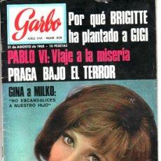 Coleccionismo de Revista Garbo: GARBO AGOSTO 1968 Nº 808. GINA LOLLABRIGIDA. ALAIN BARRIERE.PINITO DEL ORO. Lote 38432867