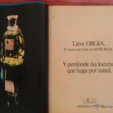 Coleccionismo de Revista Garbo: RECORTES ANUNCIO PERFUME ORGIA. Lote 43823476