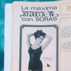 Coleccionismo de Revista Garbo: RECORTES ANUNCIO VINTAGE SORAS ROPA INTERIOR FEMENINA LENCERIA. Lote 218071905
