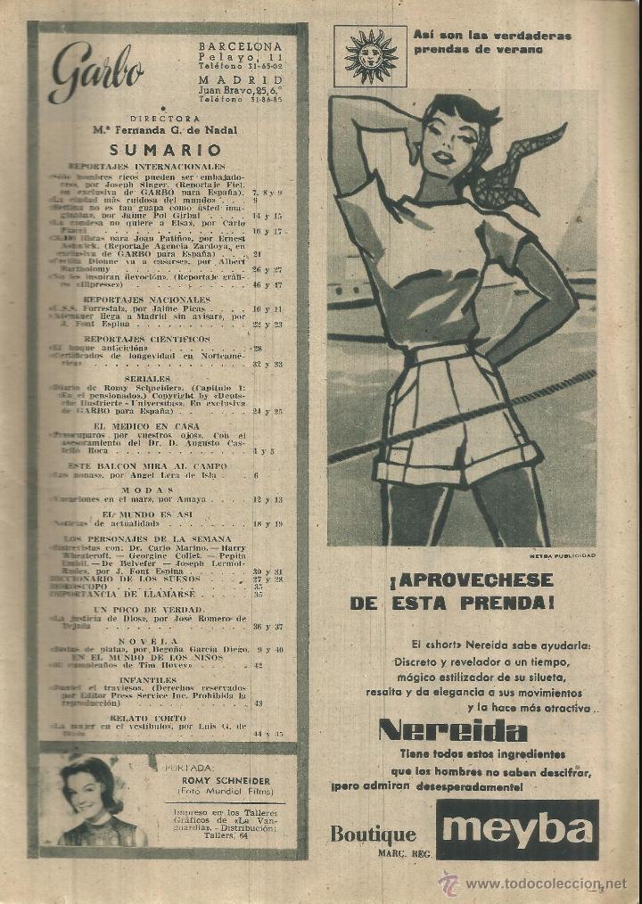 Coleccionismo de Revista Garbo: REVISTA GARBO. NOVIEMBRE. 1956. Nº 192. ROMY SCHNEIDER. ELSA MARTINELLI. JOAN PATIÑO - Foto 2 - 53368956