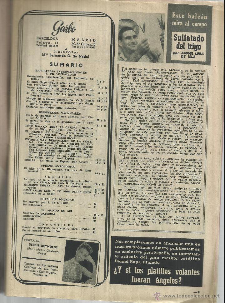 Coleccionismo de Revista Garbo: REVISTA GARBO. DICIEMBRE. 1954. DEBBIE REYNOLDS. HAROLD RUSSEL. VICENTE ESCUDERO - Foto 2 - 53369001