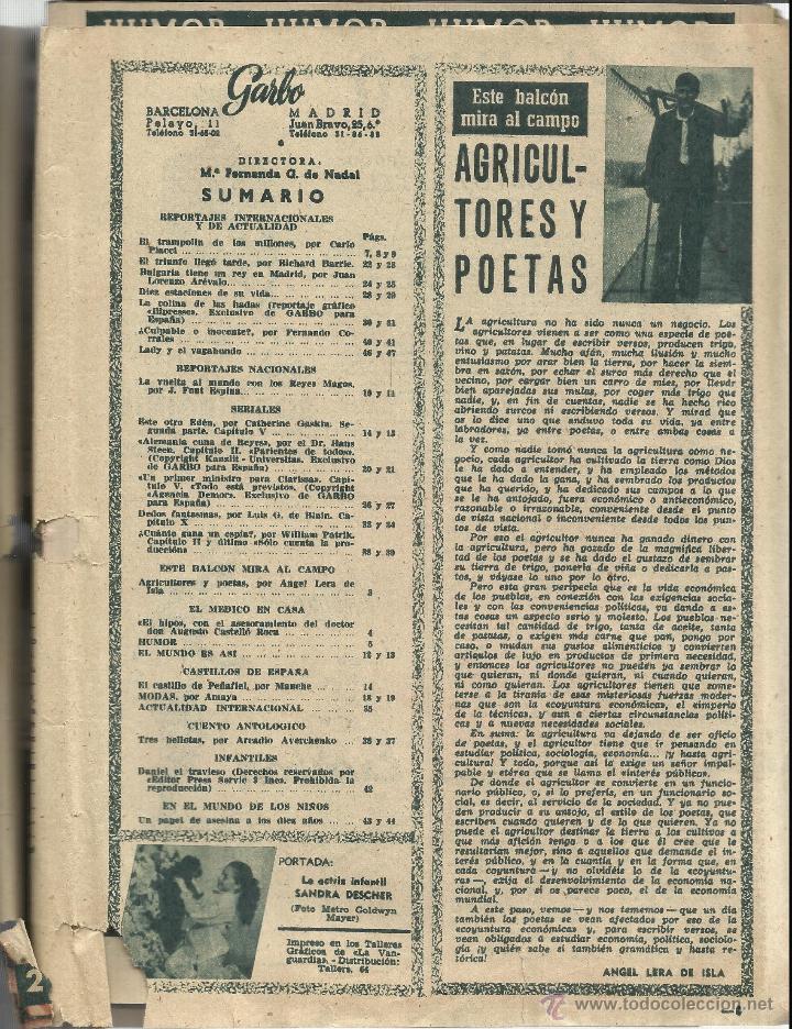Coleccionismo de Revista Garbo: REVISTA GARBO. ENERO. 1956. Nº 147. SANDRA DESCHER. RICHARD BARRIE. JOSEFINA HAKER - Foto 2 - 53369501