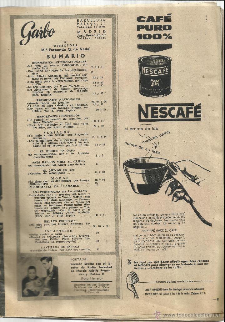 Coleccionismo de Revista Garbo: REVISTA GARBO. NOVIEMBRE. 1957. Nº 244. .CARMEN SEVILLA. CONCHITA BAUTISTA. JOSÉ NIETO. - Foto 2 - 53369699