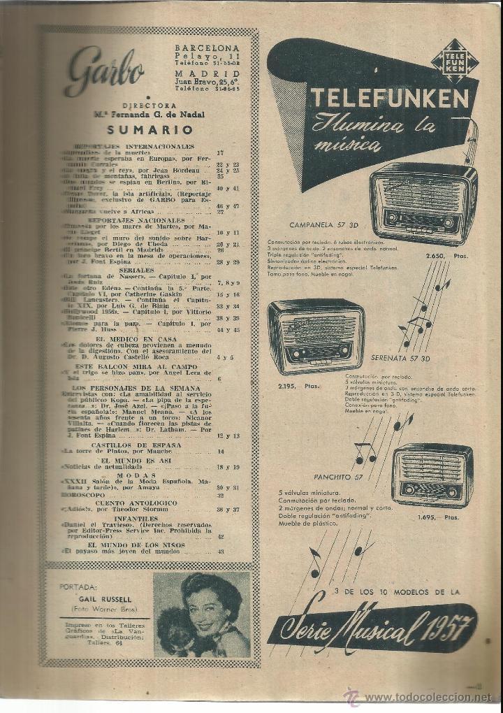 Coleccionismo de Revista Garbo: REVISTA GARBO. OCTUBRE. 1956. Nº 186. REY PABLO DE GRECIA. GAIL RUSSEL. NICANOR VILLALTA - Foto 2 - 53369981