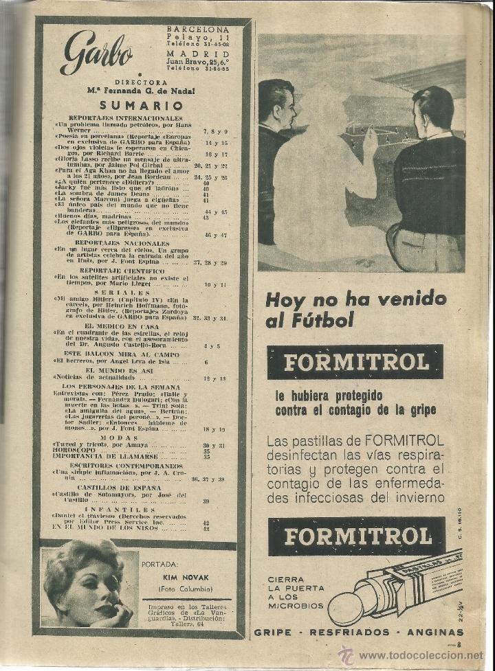 Coleccionismo de Revista Garbo: REVISTA GARBO. ENERO. 1958. Nº 252. FAZILÉ.AGA KHAN. GLORIA LASSO. KIM NOVAK - Foto 3 - 53370763