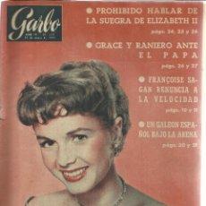 Coleccionismo de Revista Garbo: REVISTA GARBO. MAYO 1957. Nº 217.GRACE KELLY. PRÍNCIPE RAINERO. FRANCOISE SAGAN. . Lote 53371018