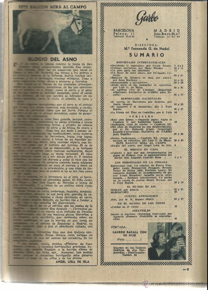 Coleccionismo de Revista Garbo: REVISTA GARBO. ENERO. 1956. Nº 148. LAUREN BACCAL. RAINERO DE MÓNACO. GRACE KELLY - Foto 2 - 53371124