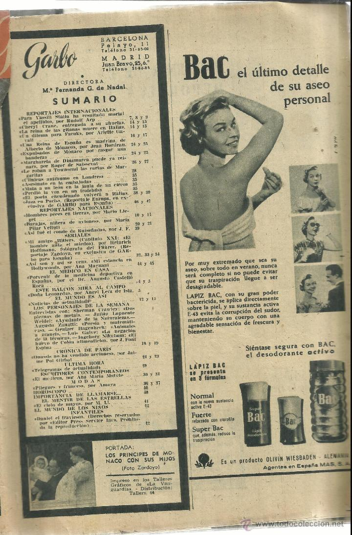 Coleccionismo de Revista Garbo: REVISTA GARBO. MAYO. 1958. Nº 268. PRÍNCIPE RAINERO. GRACE KELLY. ALBERTO DE MÓNACO - Foto 2 - 53371183