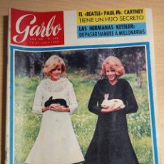 Coleccionismo de Revista Garbo: ANTIGUA REVISTA ORIGINAL GARBO AÑO 1965 REPORTAJE THE BEATLES PAUL MC CARTNEY HIJO SECRETO. Lote 82773752