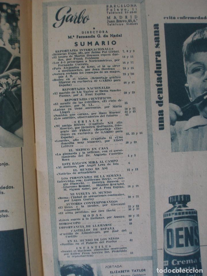 Coleccionismo de Revista Garbo: Revista Garbo nº 259 Elizabeth Taylor marzo de 1958 - Foto 4 - 93094120
