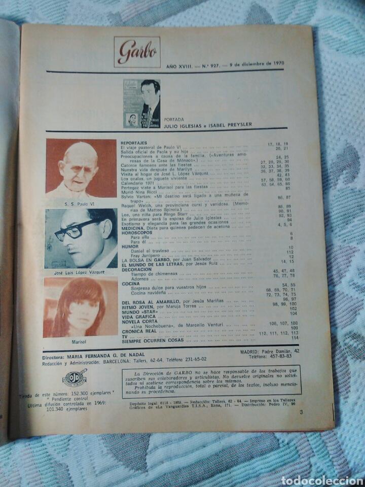 Coleccionismo de Revista Garbo: GARBO Nº 927 9 DICIEMBRE 1970 EXTRA NAVIDAD PERTEGAZ VISTE A MARISOL- SYLVIE VARTAN-JULIO IGLESIAS - Foto 2 - 99827015