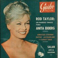Collectionnisme de Magazine Garbo: GARBO Nº 478 ORIGINAL - 12 MAYO 1962 - ROD TAYLOR, ANITA EKBERG. JACQUELINA KENNEDY, FARH DIBA,SALAN. Lote 103864615