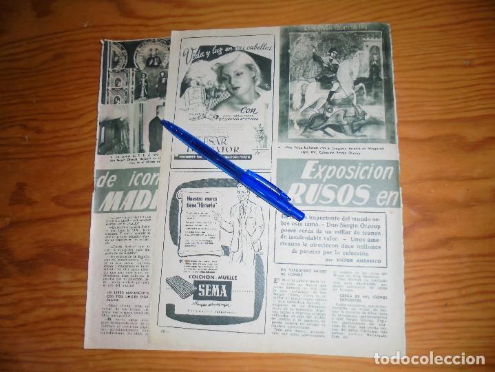 RECORTE DE PRENSA : EXPOSICION DE ICONOS RUSOS EN MADRID. GARBO, 1955 (Coleccionismo - Revistas y Periódicos Modernos (a partir de 1.940) - Revista Garbo)