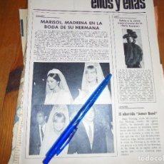 Coleccionismo de Revista Garbo: RECORTE PRENSA : MARISOL , MADRINA EN LA BODA DE SU HERMANA. GARBO, OCTUBRE 1966. Lote 118436107