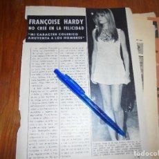 Coleccionismo de Revista Garbo: RECORTE PRENSA : FRANÇOISE HARDY, NO CREE EN LA FELICIDAD. GARBO, OCTUBRE 1966. Lote 118436343