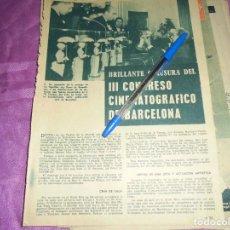 Coleccionismo de Revista Garbo: RECORTE PRENSA : III CONGRESO CINEMATOGRAFICO DE BARCELONA. GARBO, OCTUBRE 1961. Lote 118778435
