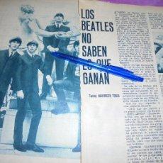 Coleccionismo de Revista Garbo: RECORTE PRENSA : LOS BEATLES NO SABEN LO QUE GANAN. GARBO, ABRIL 1966. Lote 118987187