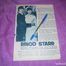 Coleccionismo de Revista Garbo: RECORTE DE PRENSA : RINGO STAR, SERA PADRE. GARBO, ABRIL 1965. Lote 119183427