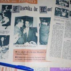 Coleccionismo de Revista Garbo: RECORTE PRENSA : CONCESION DEL PREMIO ELISENDA DE MONCADA 1960. GARBO, OCTUBRE 1960. Lote 119292731